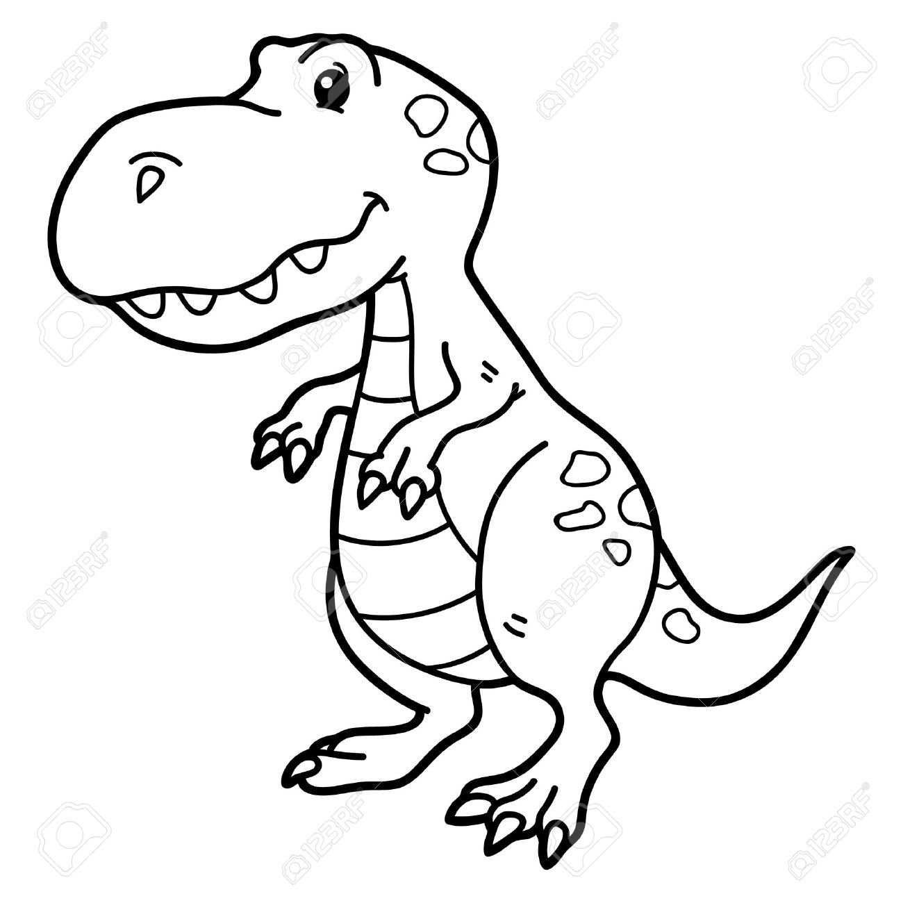 vector vector illustration of cute cartoon dinosaur character for children coloring and scrap book - Children Coloring