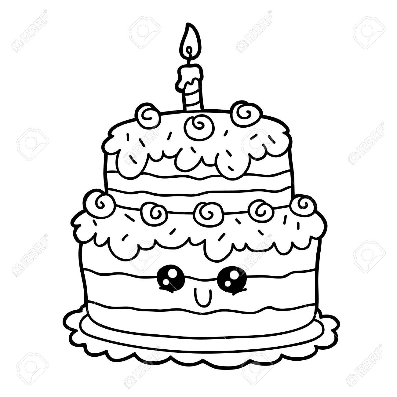 Vector Illustration Of Cute Cartoon Birthday Cake Character For