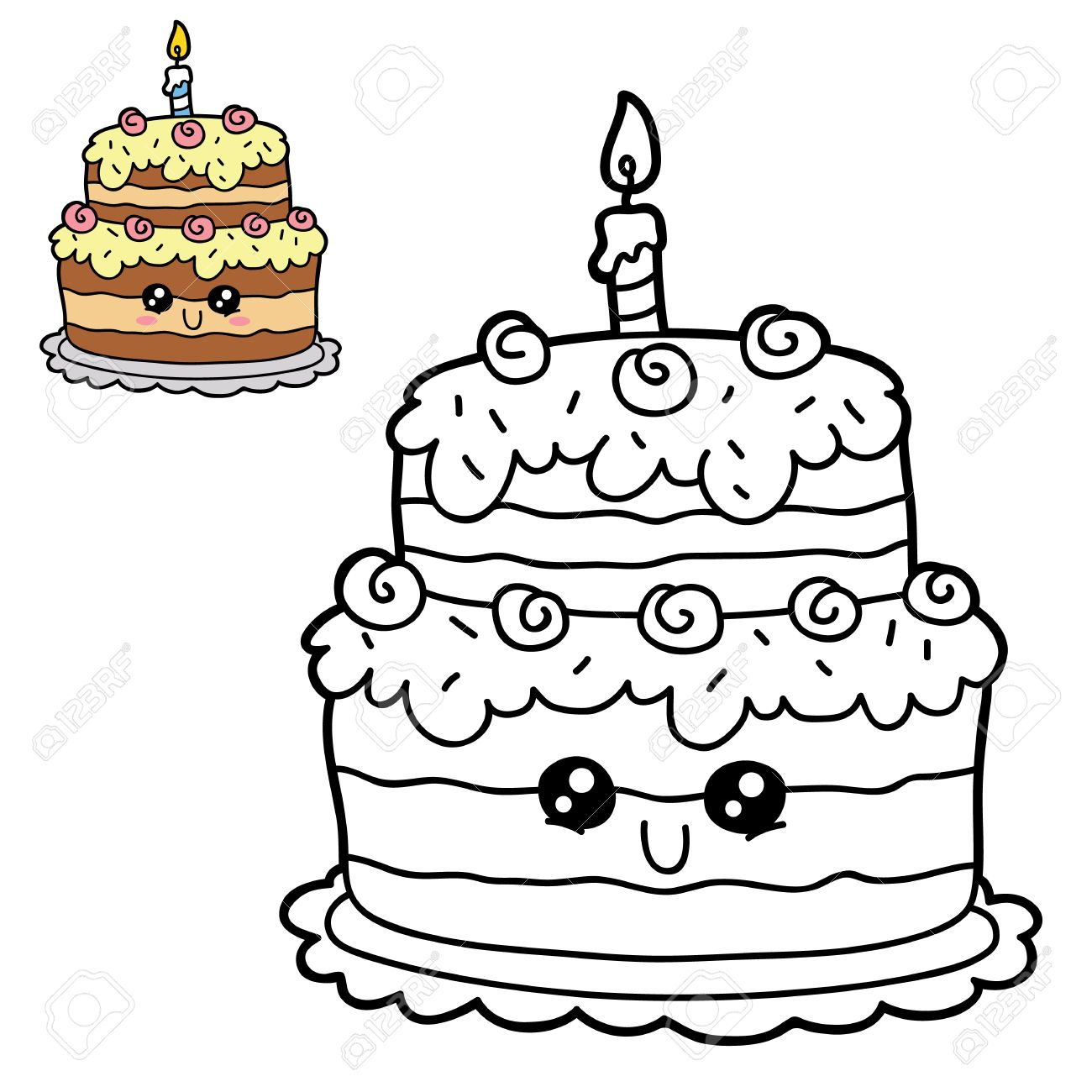 vector illustration coloring page of happy cartoon birthday cake for children coloring and scrap book - Feliz Cumpleanos Coloring Pages