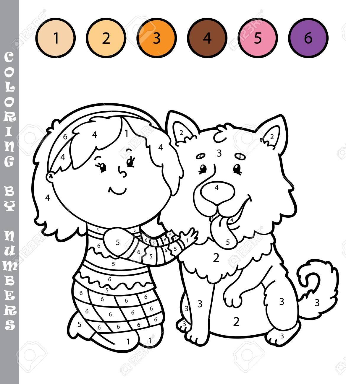 Ilustración Vectorial Para Colorear Por Números Juego Educativo Con Dibujos Animados Niña Y Perro Para Niños
