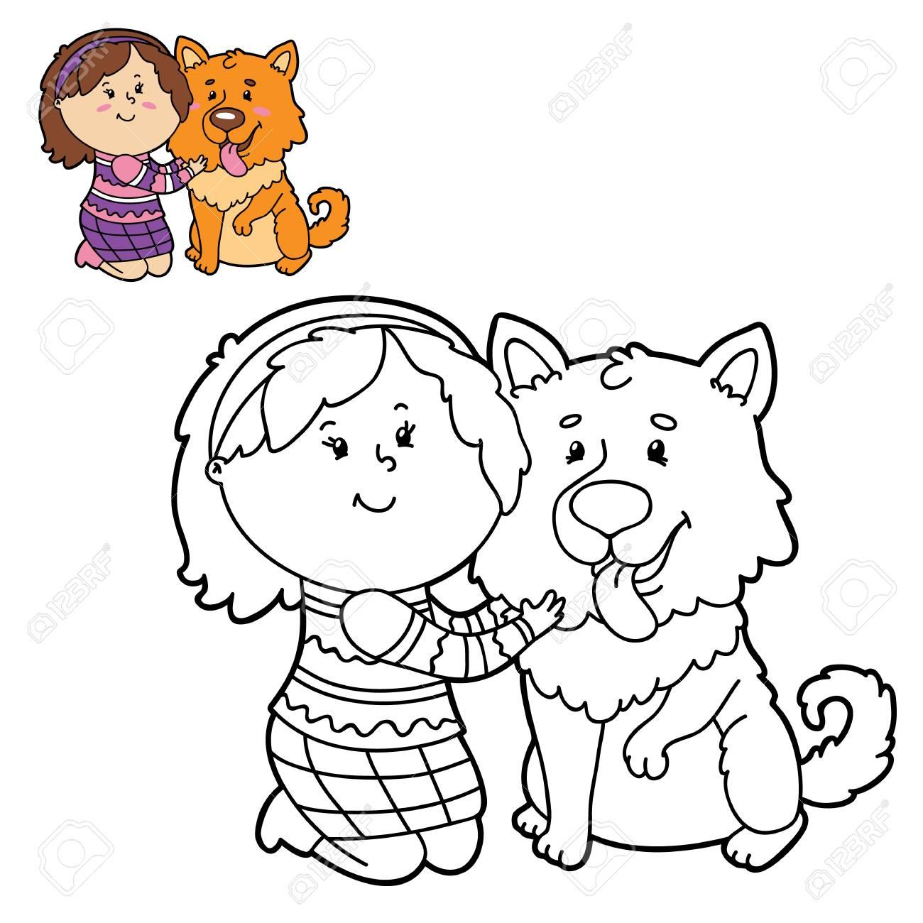 Ilustración Vectorial Para Colorear Página De Niña Y Perro Feliz De Dibujos Animados Para Niños Colorear Y Libro De Chatarra