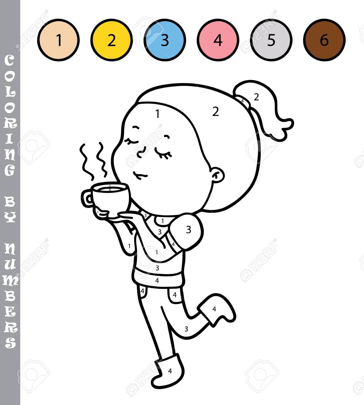 Illustrazione Vettoriale Colorare Dai Numeri Gioco Educativo Con