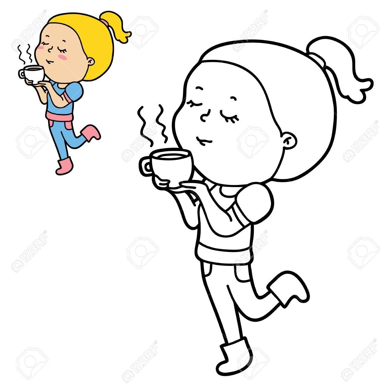 Ilustración Vectorial De Personaje De Dibujos Animados Lindo Chica ...