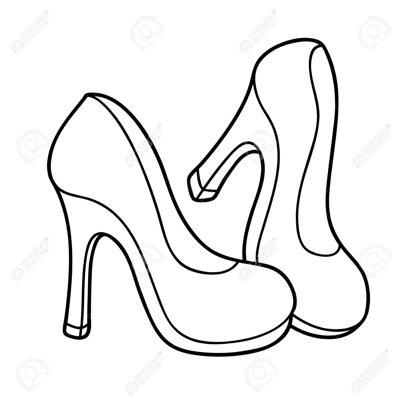 Vector La Ilustración De Los Zapatos De Tacón Alto Lindos De La Historieta Para Los Niños Página Para Colorear