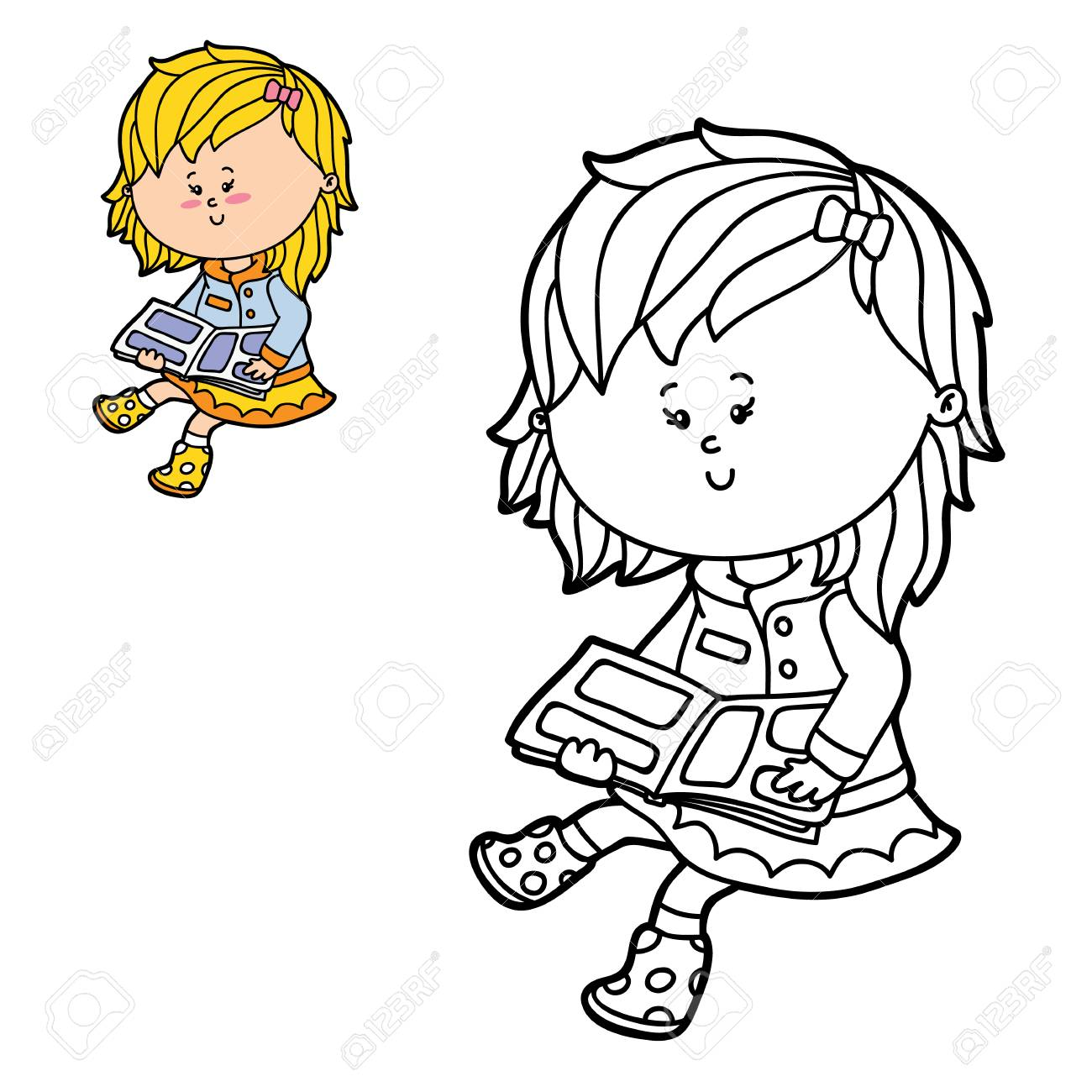 Vector Illustration Coloring Page Of Happy Cartoon Girl For Children ...
