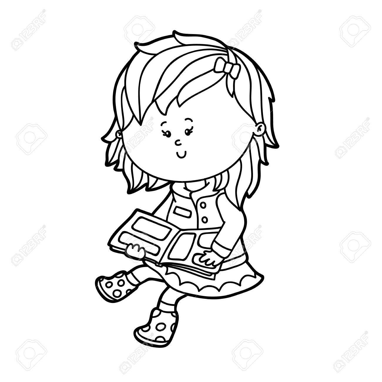 Ilustracion Del Vector Del Caracter Lindo Nina De Dibujos Animados