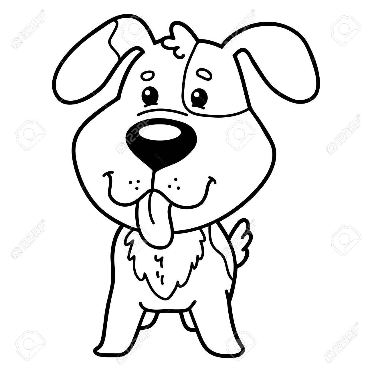 Ilustración De Vector De Personaje De Dibujos Animados Lindo Perro