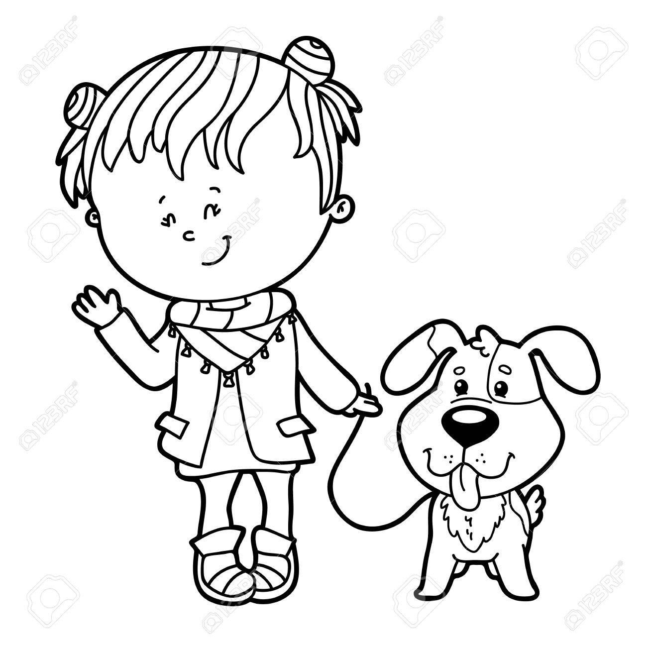 Ilustración Vectorial De Dibujos Animados Chica Linda Y El Carácter ...