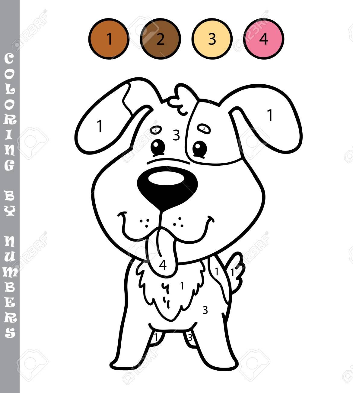 Ilustración Vectorial Para Colorear Por Números Juego Educativo Con El Perro De Dibujos Animados Para Los Niños