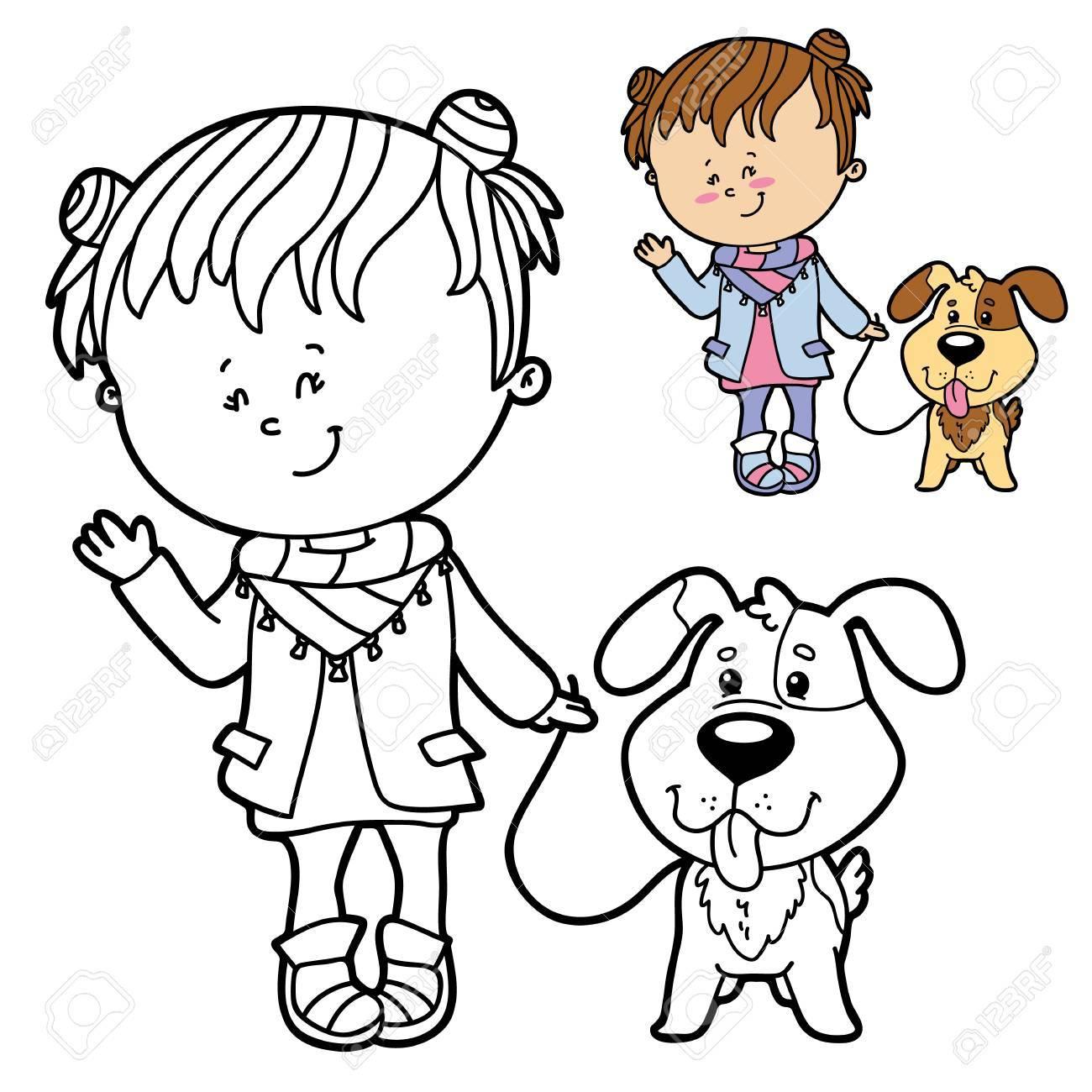 Ilustración Vectorial Para Colorear Página De Niña Y Perro Feliz De ...