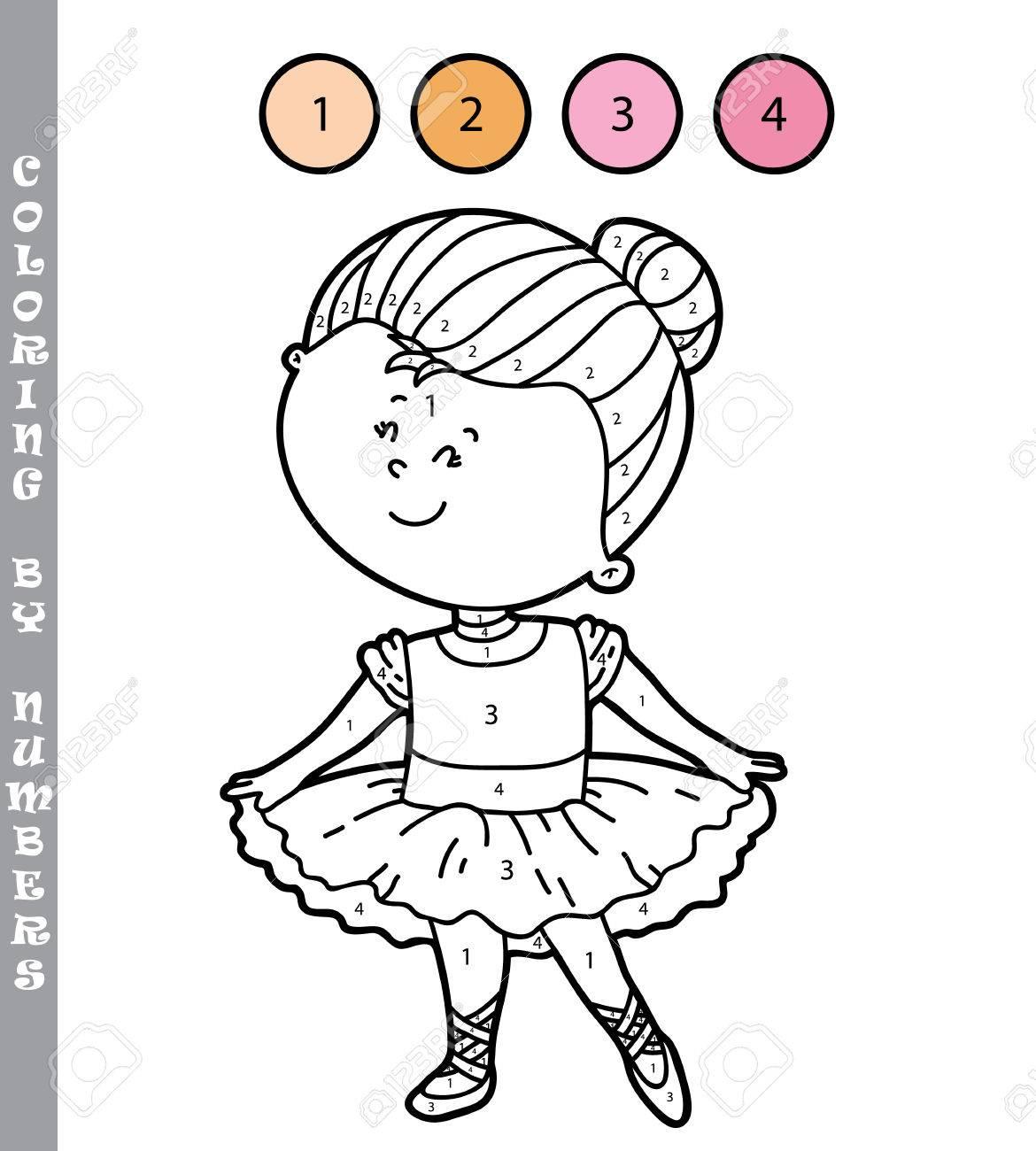 Ilustración Vectorial Para Colorear Por Números Juego Educativo Con La Niña De Dibujos Animados Para Los Niños