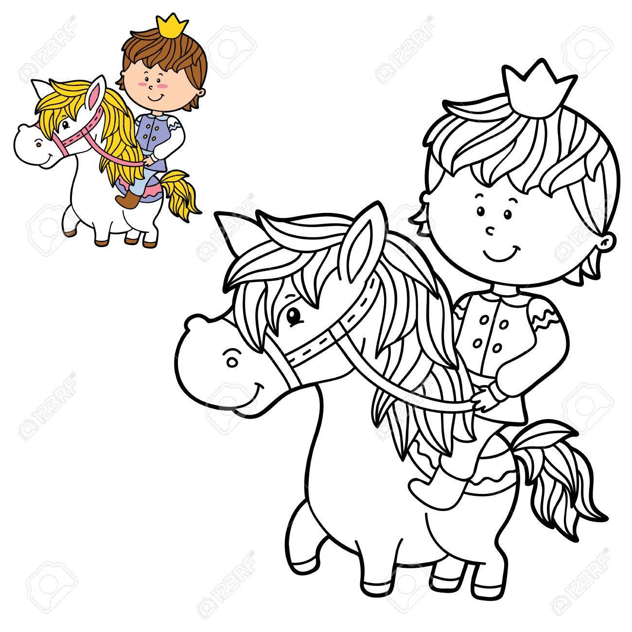 Vector Las Ilustraciones Para Colorear Página De Niño Feliz De Dibujos Animados Para Niños Colorear Y álbum De Recortes