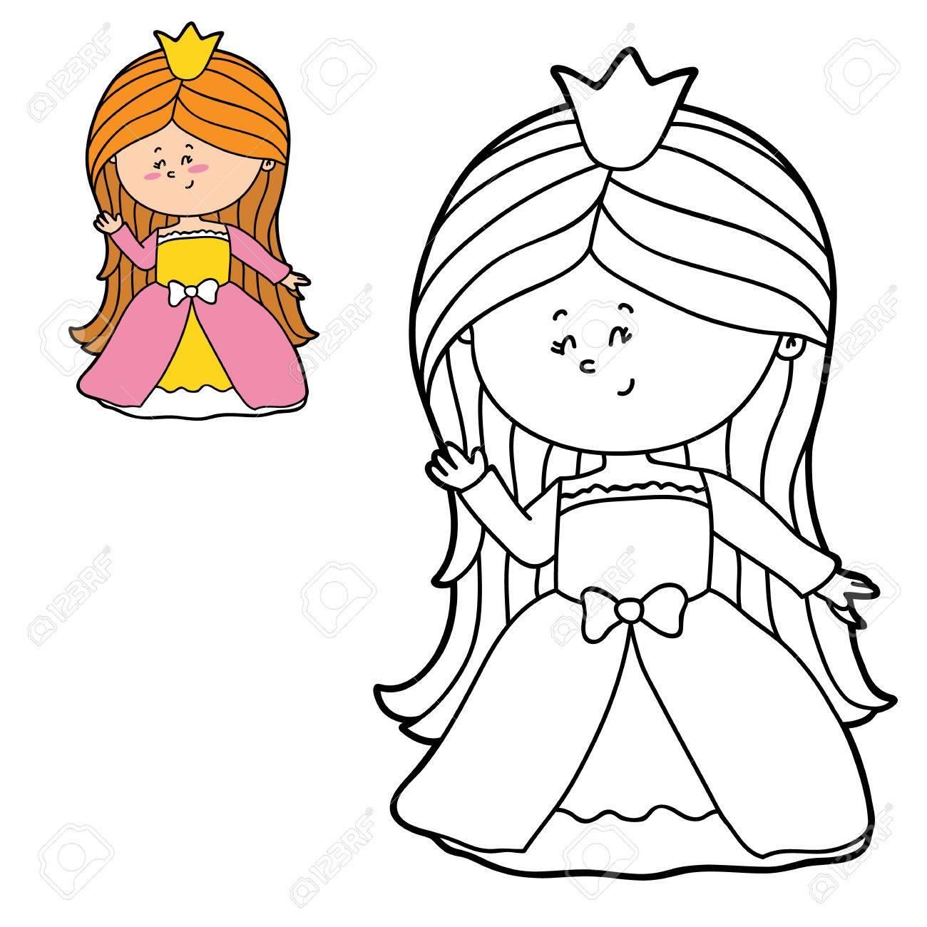 Vector De La Página Para Colorear Ilustración De Una Niña Feliz De Dibujos Animados Para Niños Colorear Y álbum De Recortes