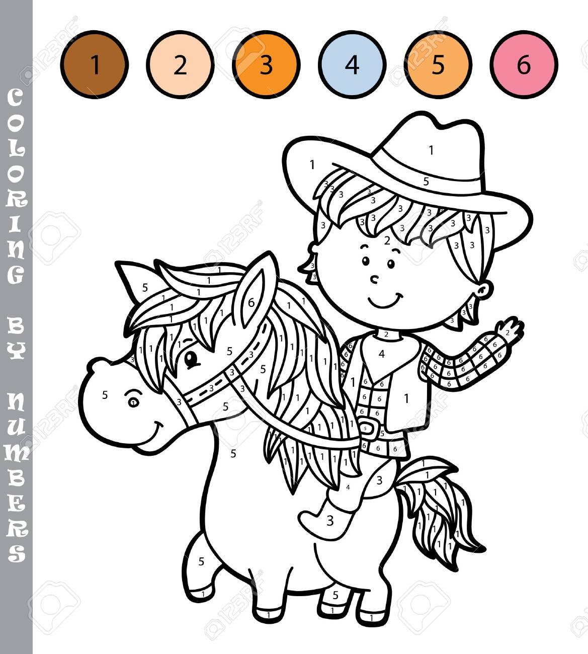 Ilustración Vectorial Para Colorear Por Números Juego Educativo Con El Niño De Dibujos Animados Para Los Niños