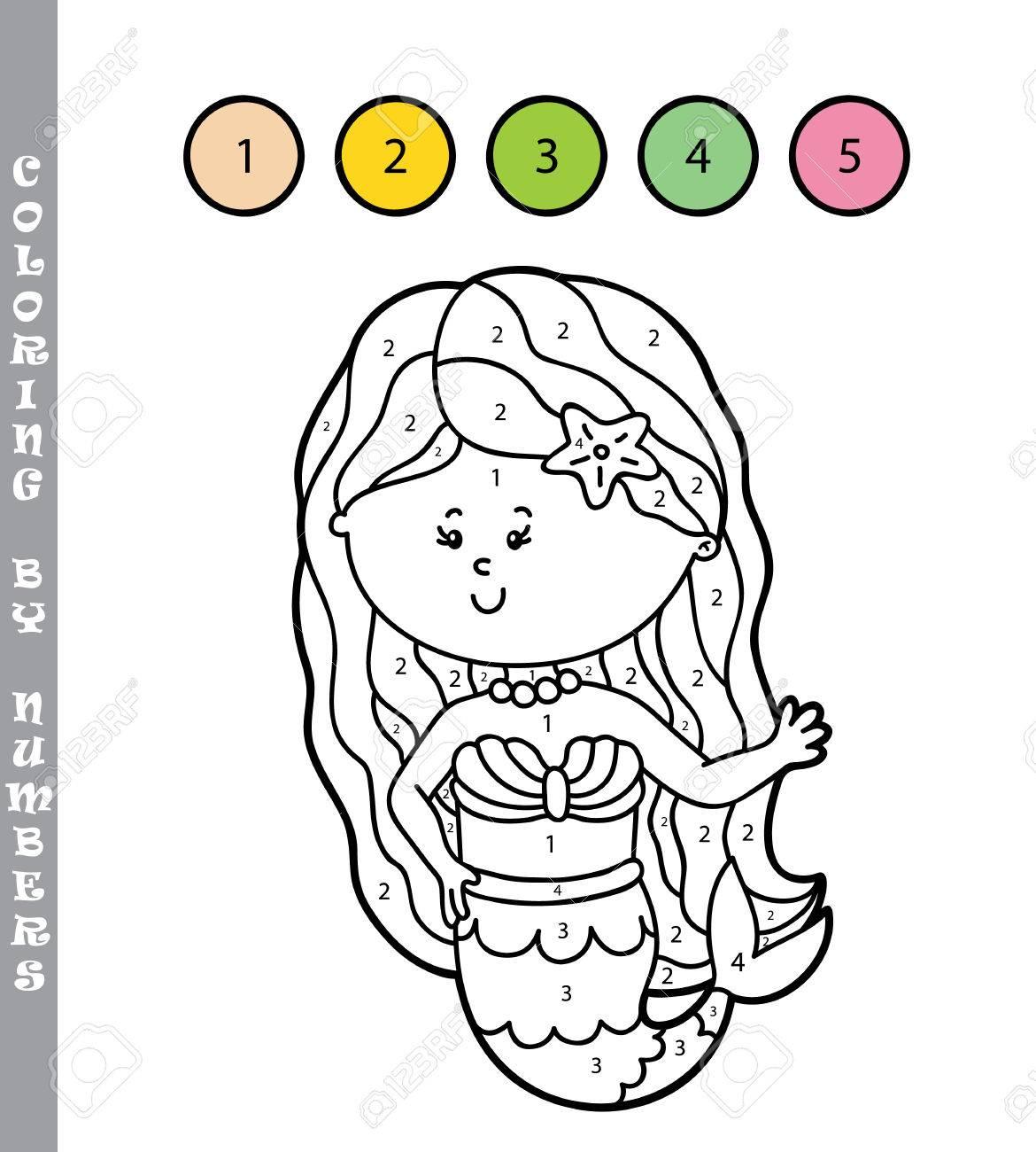 Ilustración Vectorial Para Colorear Por Números Juego Educativo Con Sirena De Dibujos Animados Para Niños