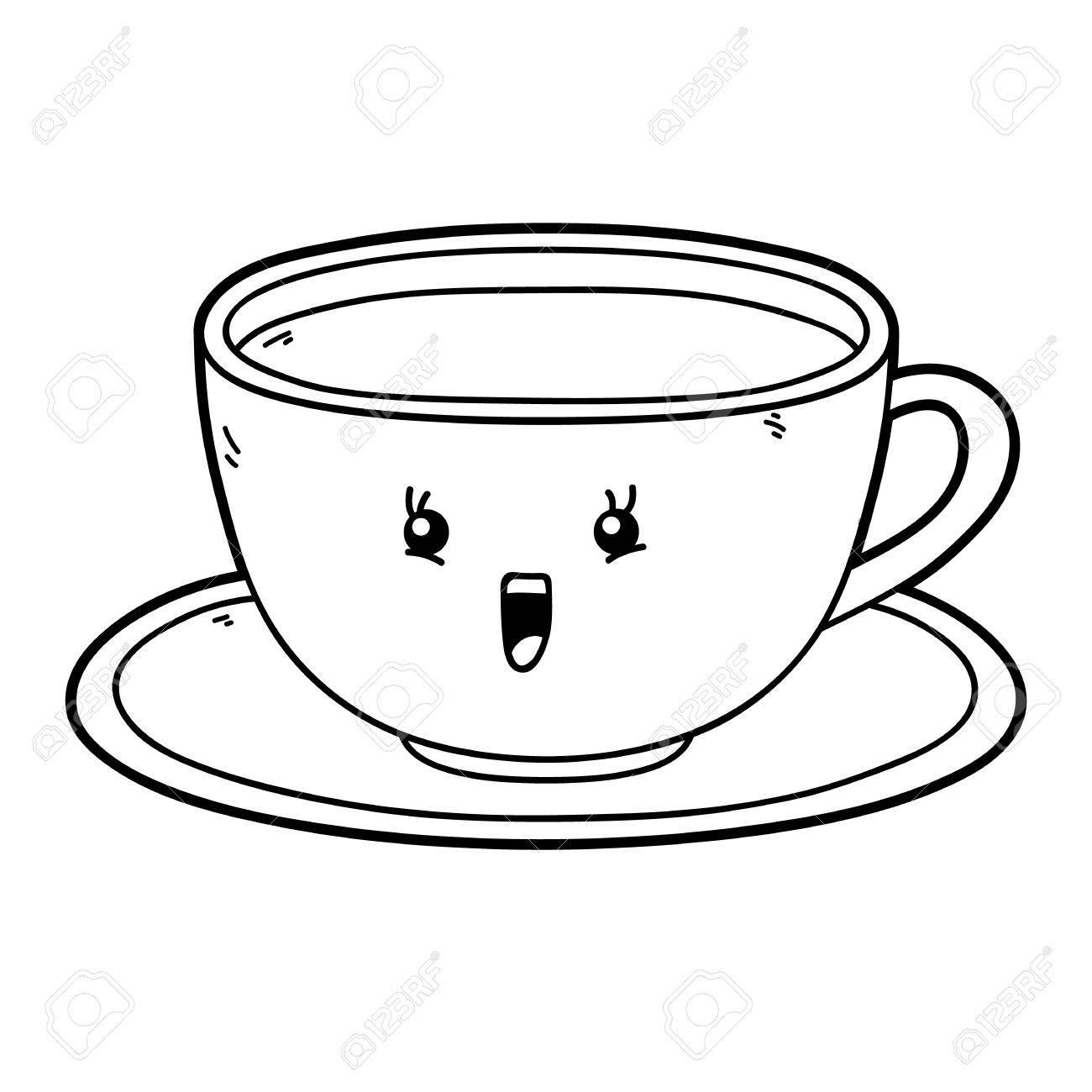 Vektor-Illustration Von Niedlichen Cartoon Tasse Zeichen Für Kinder ...