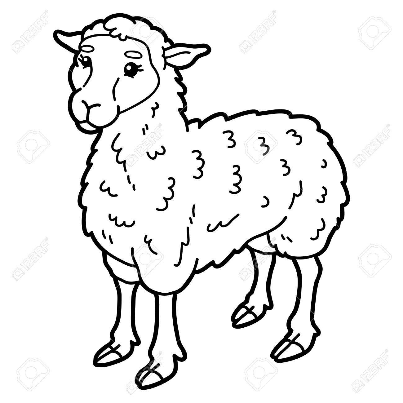 Vektor-Illustration Von Niedlichen Cartoon Schaf Zeichen Für
