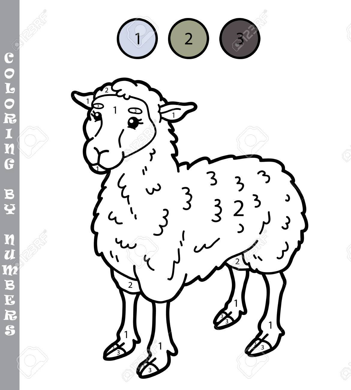 Ilustración Vectorial Para Colorear Por Números Juego Educativo Con Dibujos Animados Ovejas Para Niños