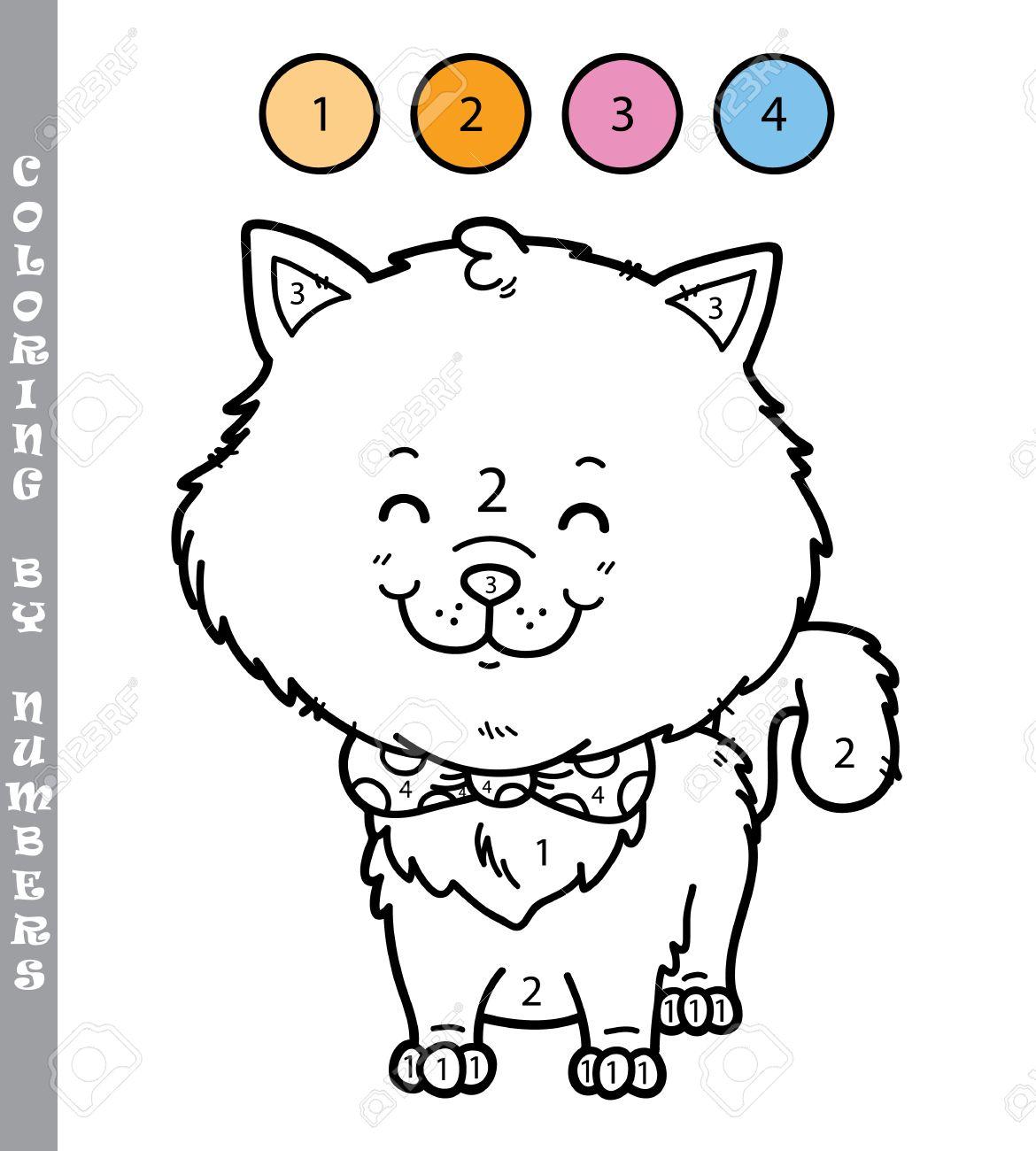 Ilustración Vectorial Para Colorear Por Números Juego Educativo Con Gato De Dibujos Animados Para Niños