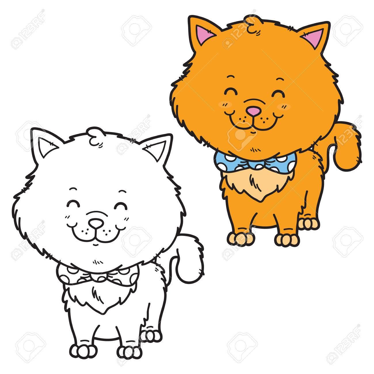 Ilustración Vectorial Para Colorear La Página De Gato Feliz De ...