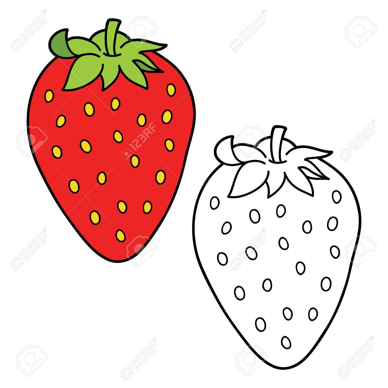 Vector Illustration Coloring Page Of Cartoon Strawberry For Children ...