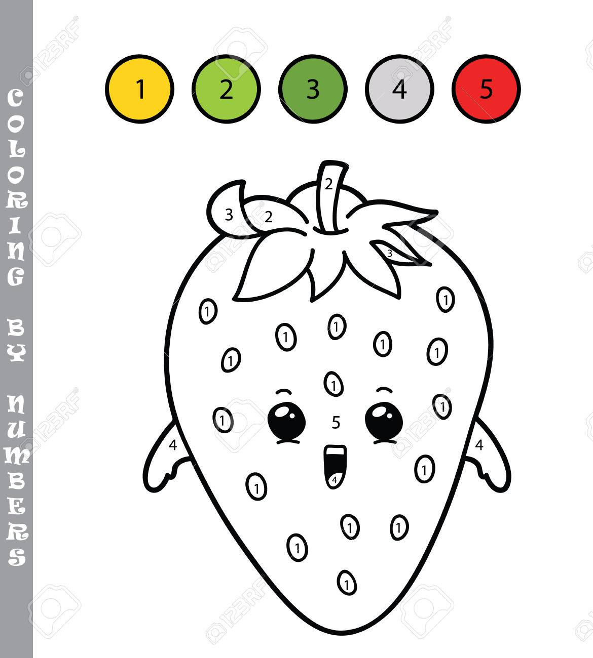 Ilustración Vectorial Para Colorear Por Números Juego Educativo Con Fresa De Dibujos Animados Para Niños