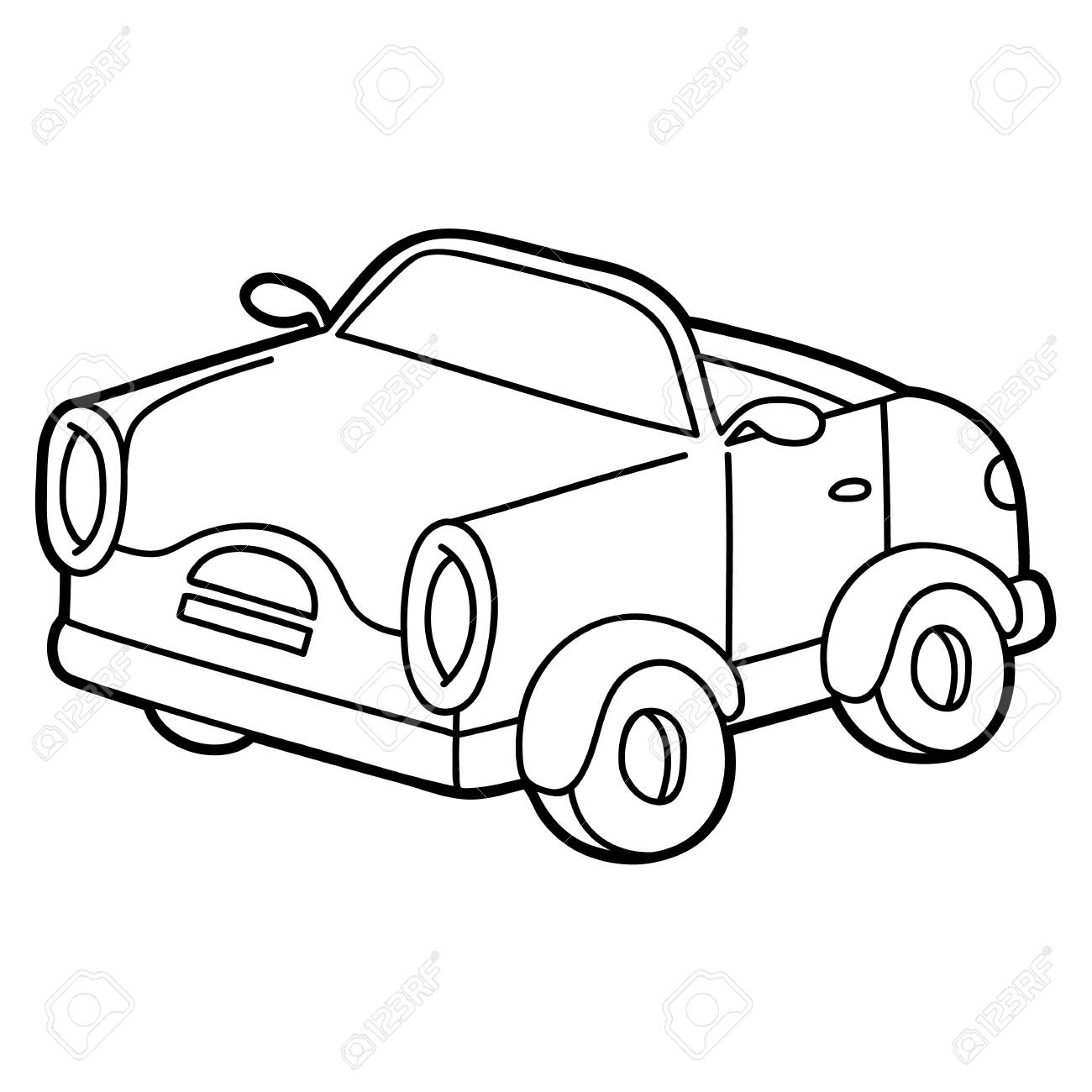 Retro Car For Children Coloring Page