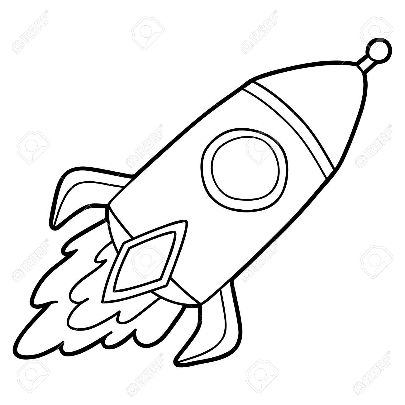 Niedliche Cartoon-Rakete für Kinder, Malvorlagen.
