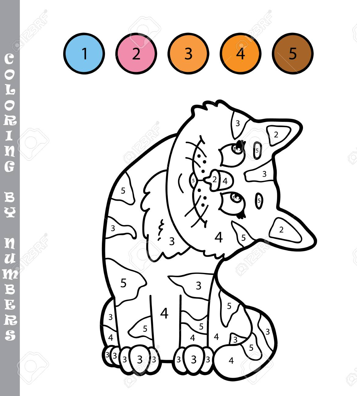 Vector Illustration Coloriage Par Numeros Jeu Educatif Avec