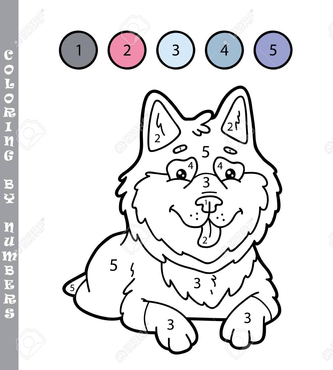 Ilustración Vectorial Para Colorear Por Números Juego Educativo Con Dibujos Animados