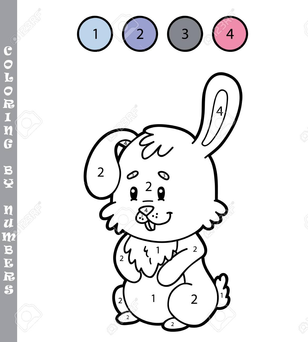 Ilustración Vectorial Para Colorear Por Números Juego Educativo Con Dibujos Animados Conejo Para Niños Para Niños