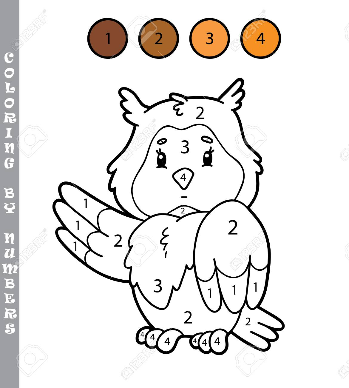 Ilustracion Vectorial Para Colorear Por Numeros Juego Educativo
