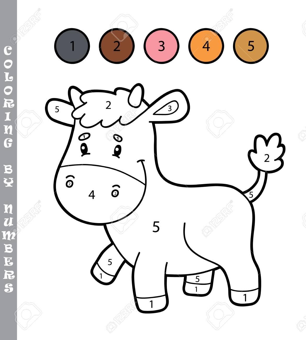 Colorear Por Números Juego Educativo Con Personaje De Vaca