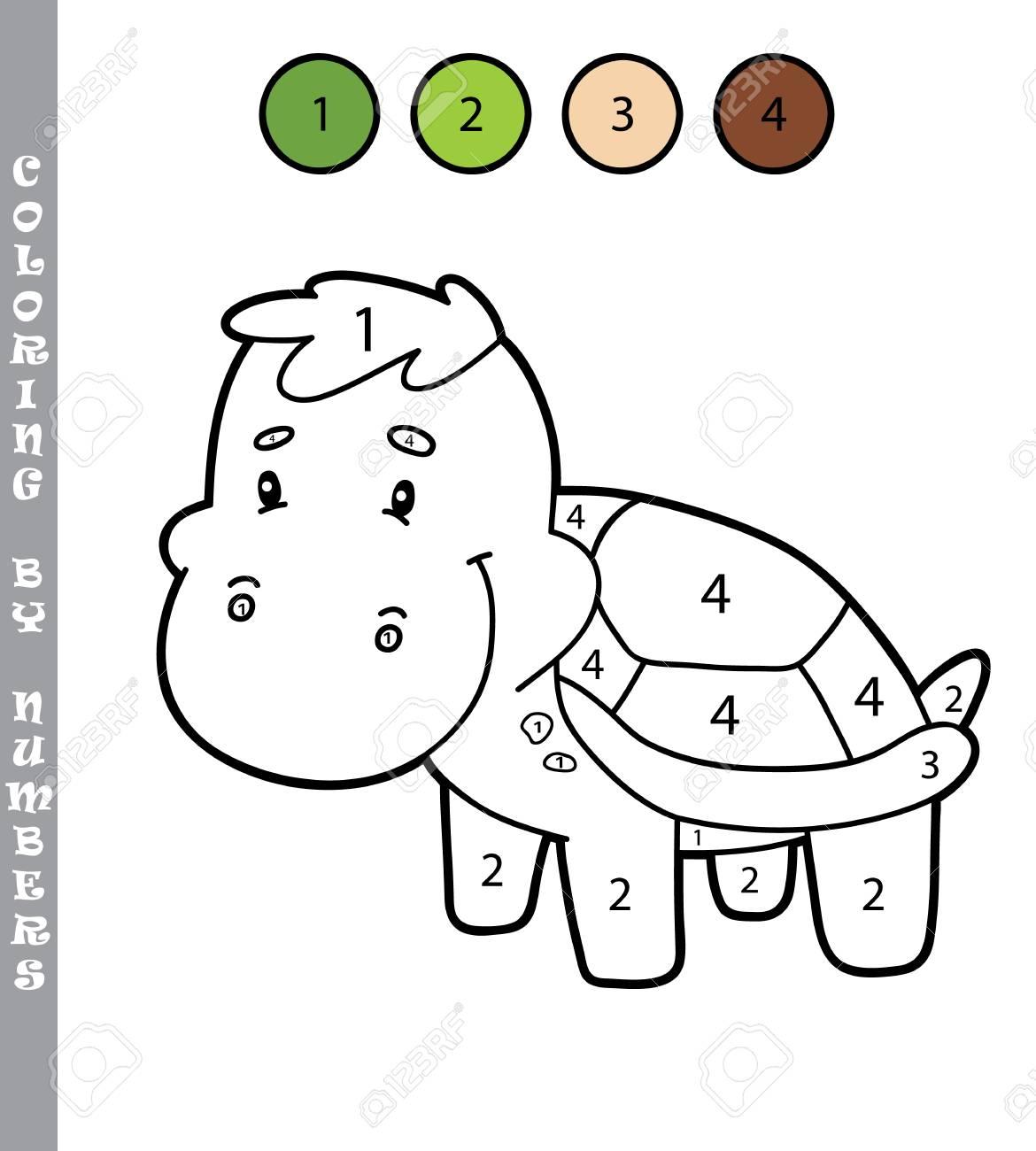 Colorear Por Números Juego Educativo Con El Personaje De La Tortuga