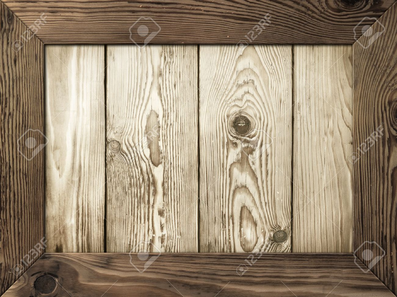 old wooden frame with wood planks inside stock photo 17815423