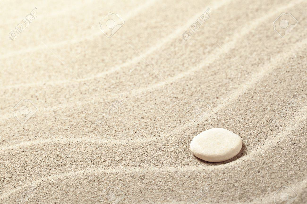 Sand Background With White Stone Sandy Beach Texture Stock Photo