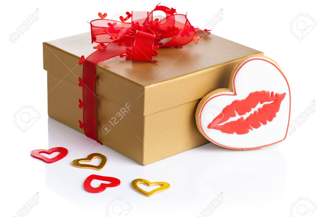 Valentine Gift Box And Cookie In Shape Of Heart With Red Lips