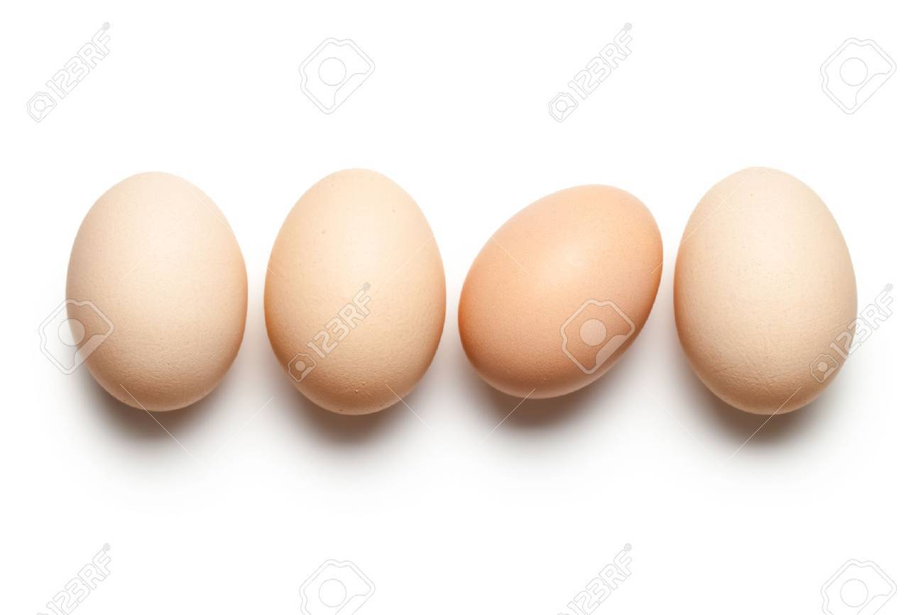 Chicken eggs on white background. Top view - 31961189