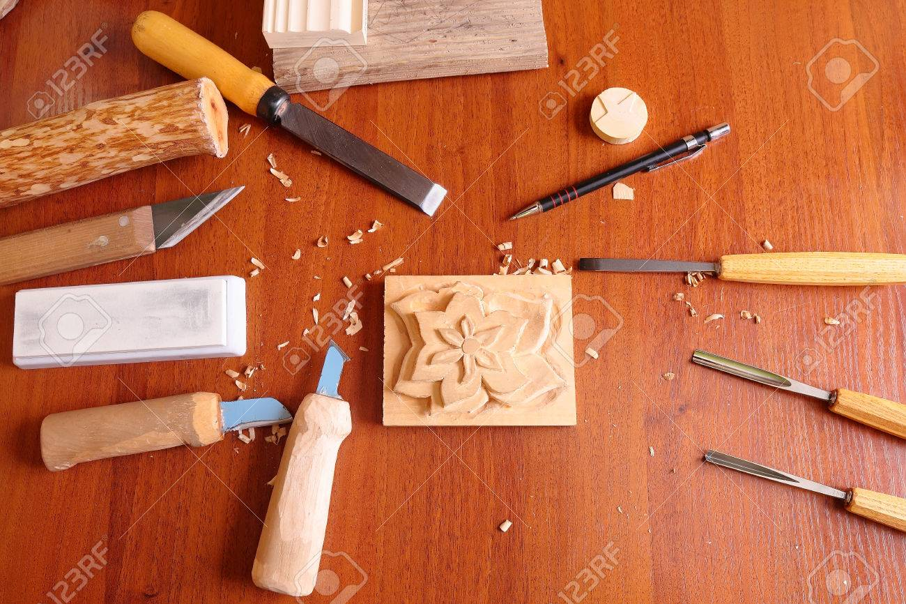 The wood carving tools with billets, close up Stock Photo - 24460079