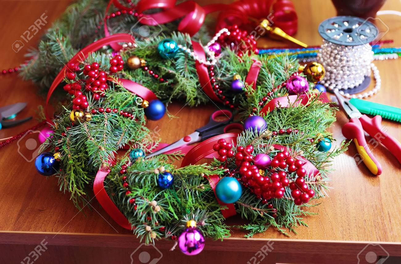 Tools And Decorations For Making Of Handicraft Christmas Wreath