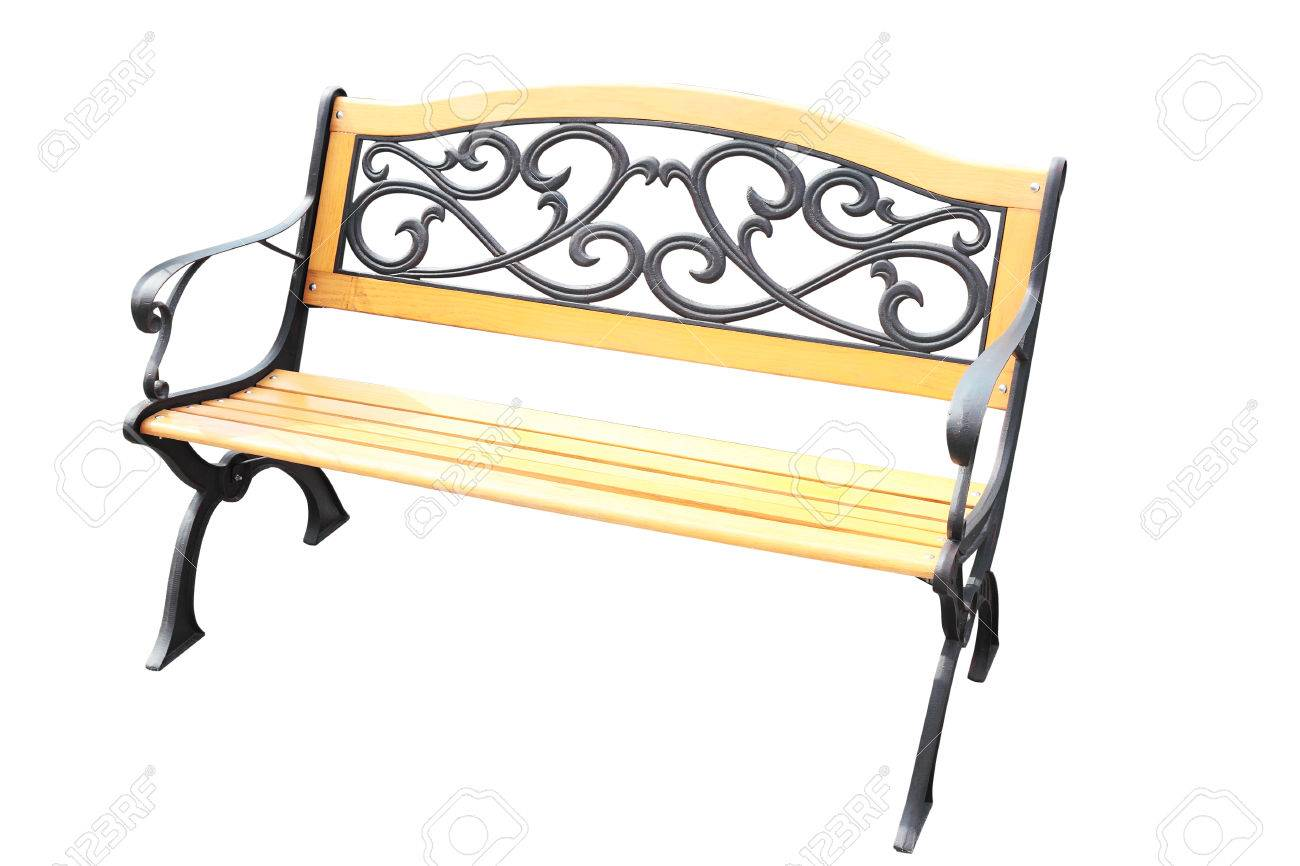 Brilliant Wooden Bench With Metal Decorations In Vintage Style Isolated Theyellowbook Wood Chair Design Ideas Theyellowbookinfo