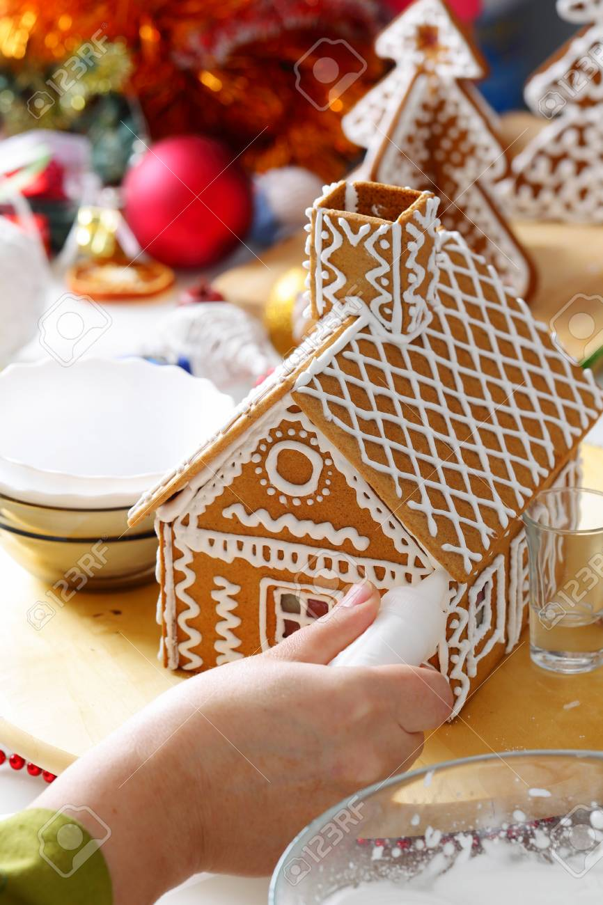 Making Of Christmas Gingerbread House Roof Decorating Close
