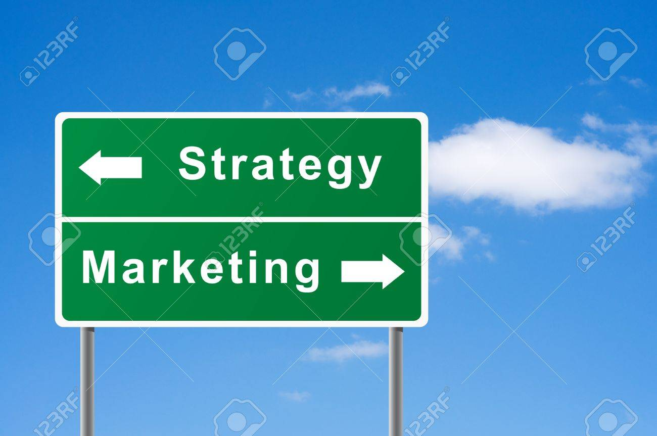 Sign strategy marketing sky background. Stock Photo - 8037439