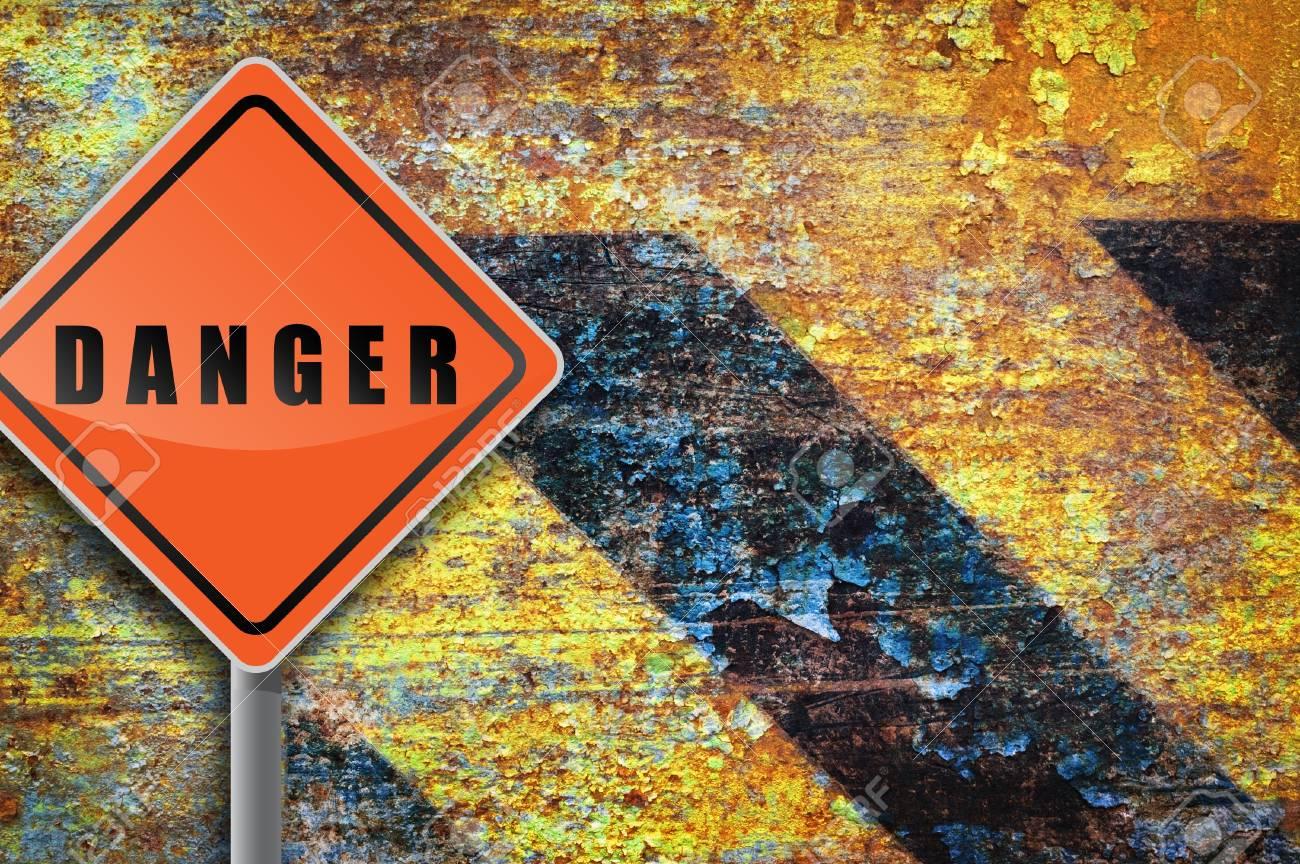 Traffic sign danger rusty wall. Stock Photo - 8520292