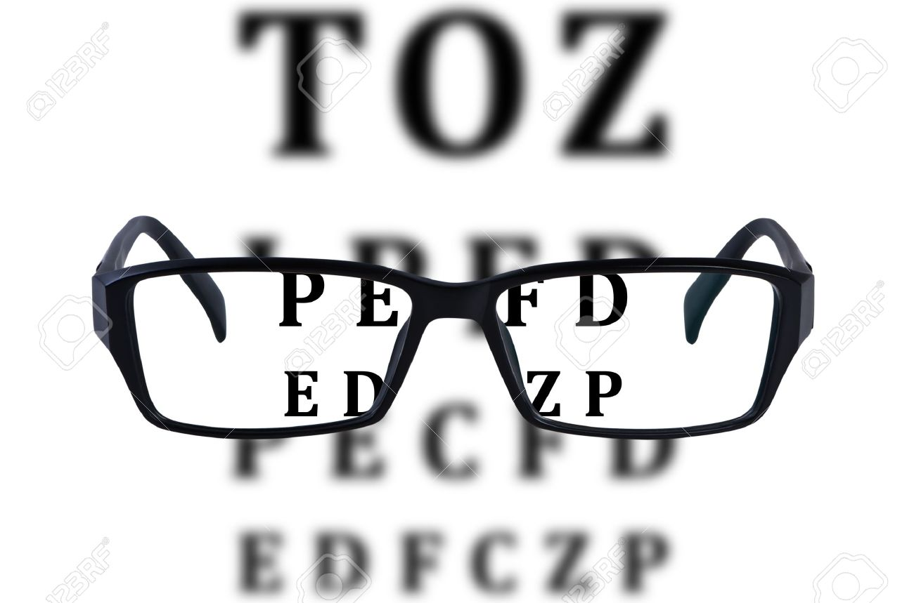 Eye glasses isolated with eye chart background. Stock Photo - 10002079