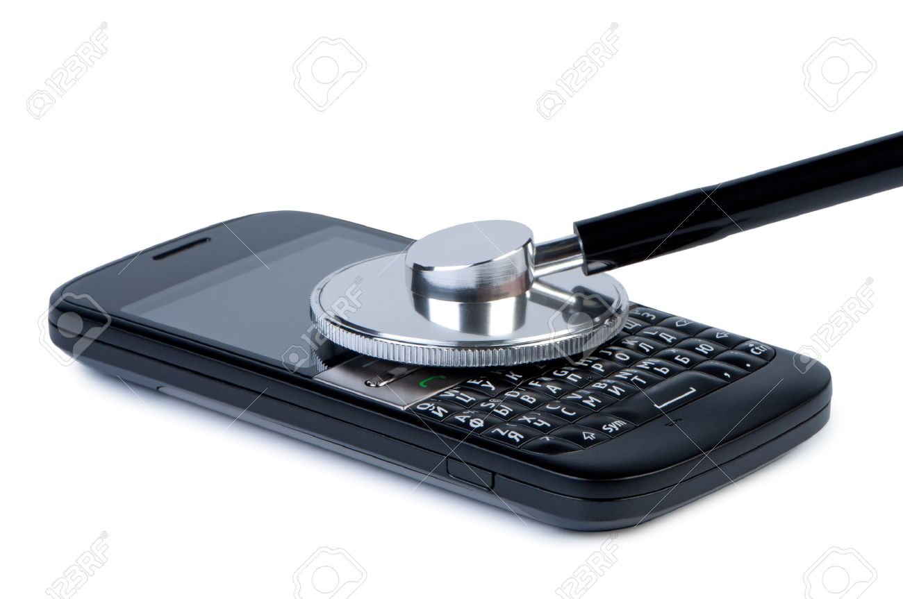Mobile phone with stethoscope, concept of diagnosis and service. Objects isolated on white background, shadow below. Stock Photo - 10002101