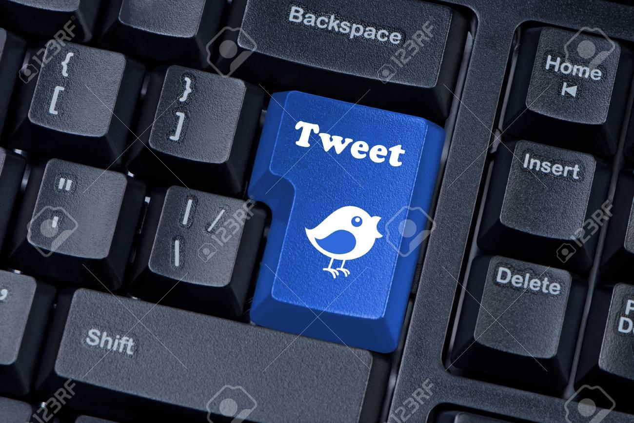 Button keypad with tweet and bird closeup. Stock Photo - 14308289