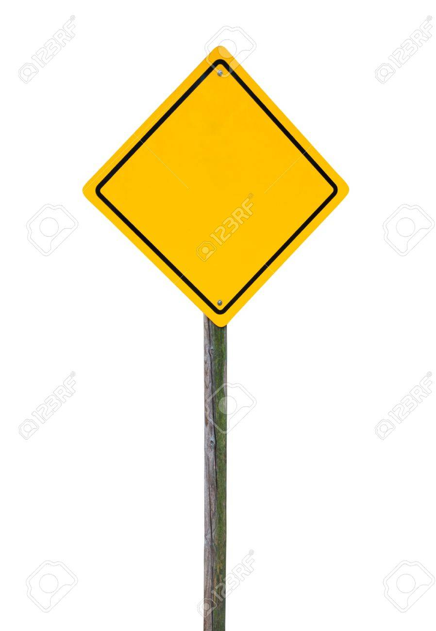 Blank yellow road sign on wooden post isolated. Stock Photo - 16514674