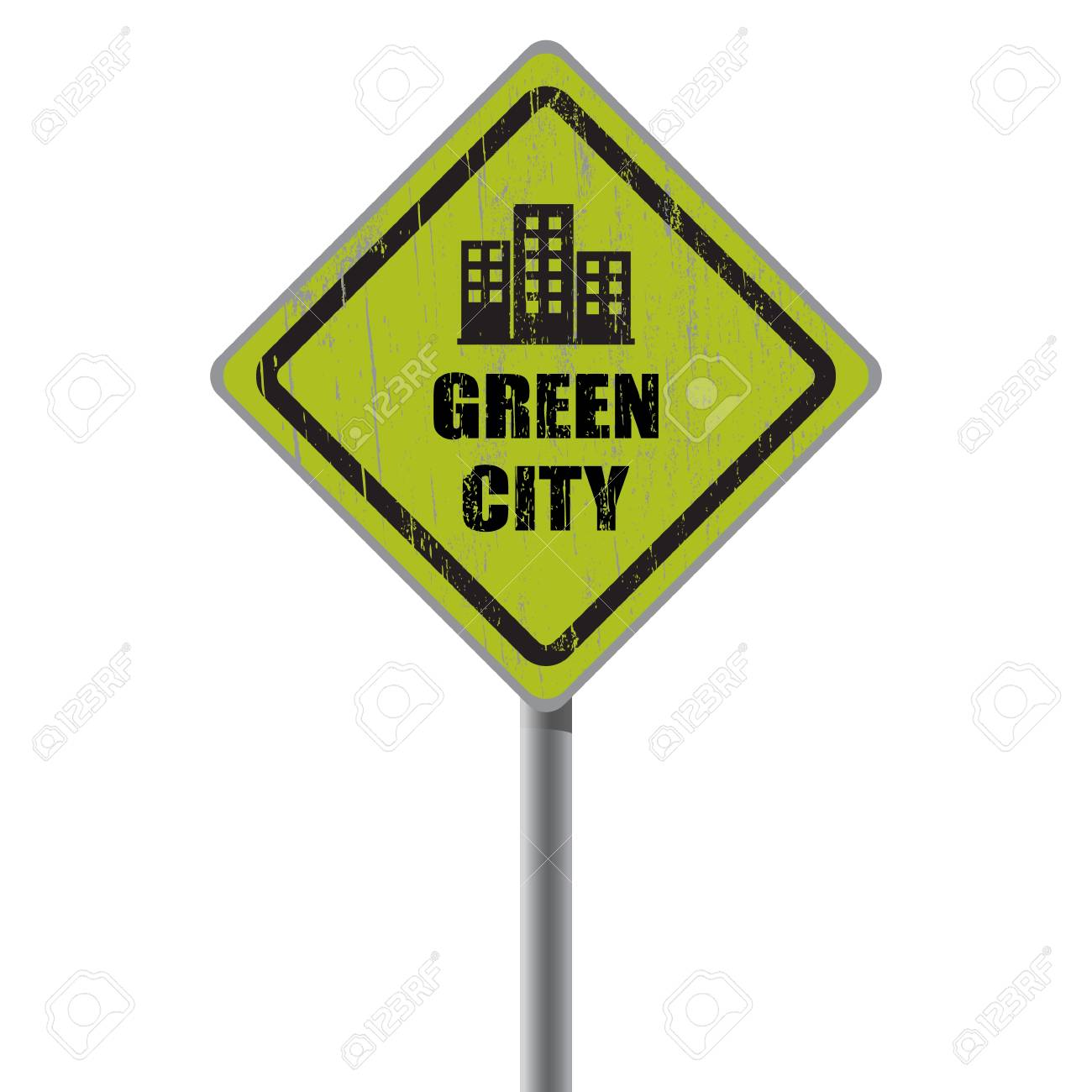 Green city road sign with condominium Stock Vector - 18687430
