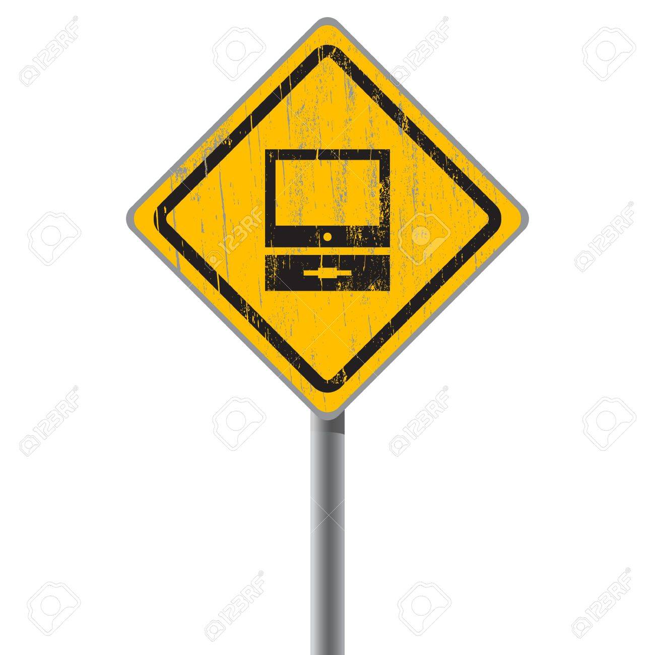 Old-fashioned personal computer on yellow shabby street sign Stock Vector - 18687442